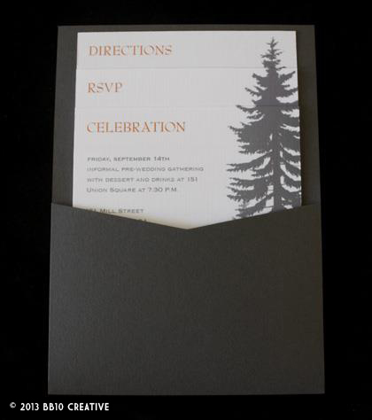 pine tree wedding invitations