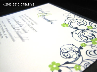 navy blue and lime green wedding invitations