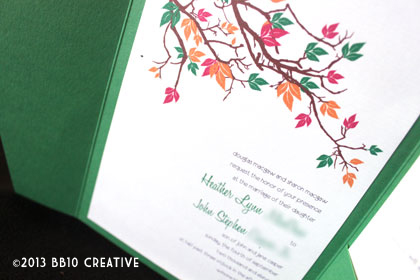 green fall theme wedding invite