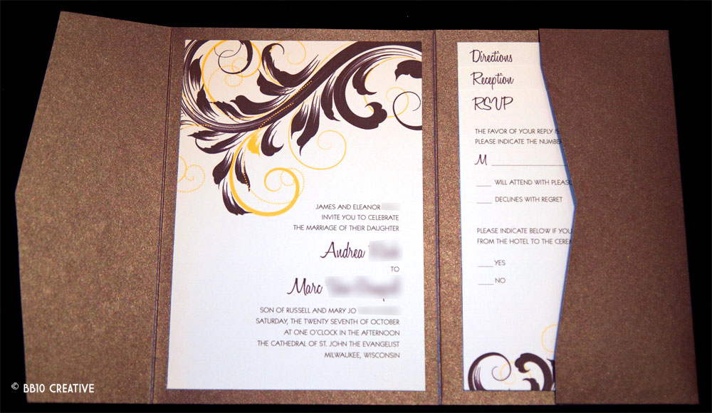 modern eggplant and yellow wedding invite
