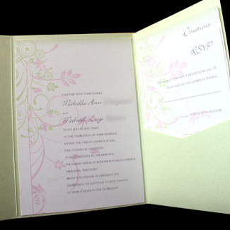 pink and green pastel wedding invitations