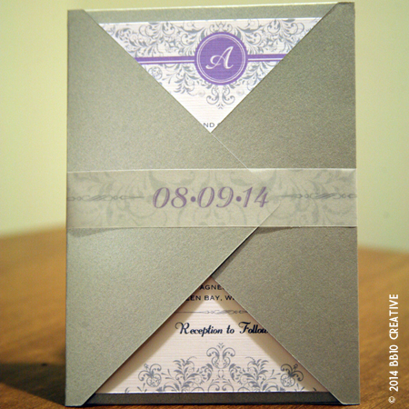 Silver and Lavendar Floral Wedding Invitations