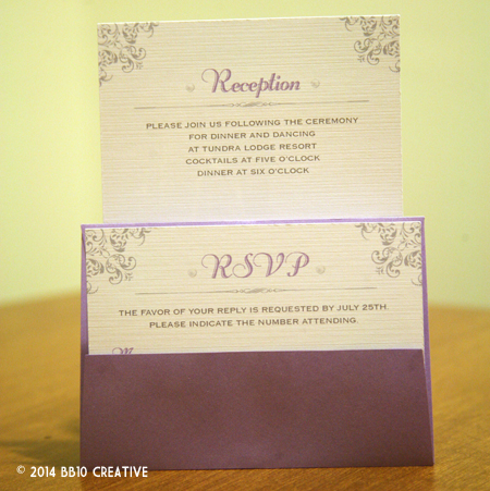 Silver and Lavendar Pochette Wedding Invitations