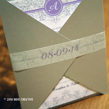 Silver and Lavendar Wedding Invites