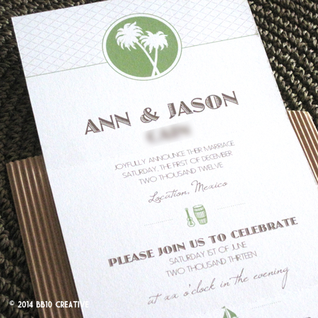 Tropical Theme Wedding Invitations