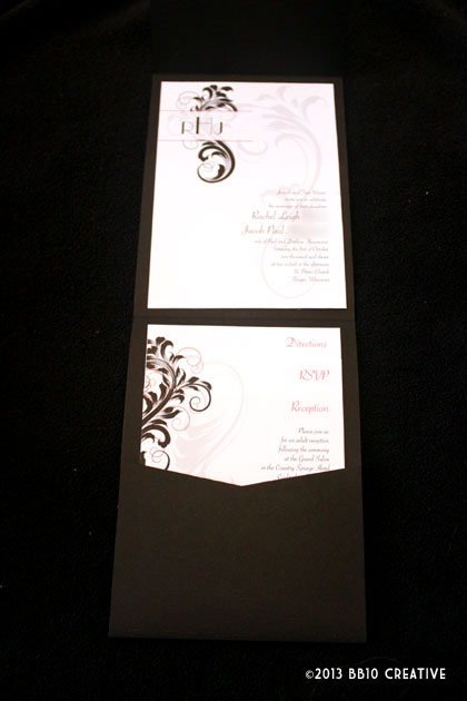 red and black vintage wedding invites