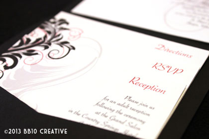 vintage red and black wedding invitations
